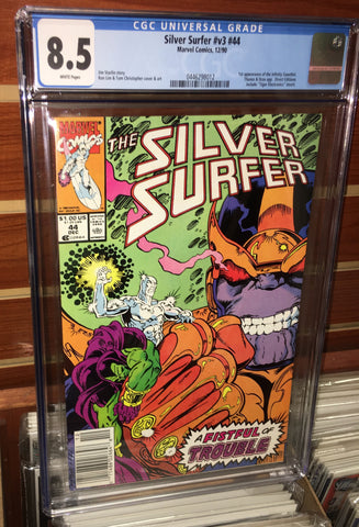 SILVER SURFER #44 CGC GRADED 8.5 WHITE PAGES THANOS INFINITY GAUNTLET