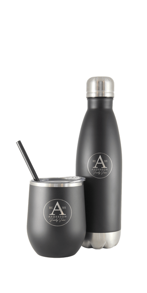 Anderson Family Farm 18/8 lightweight, lead free stainless steel tumbler and water bottle