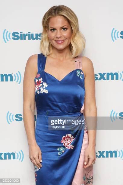 Fuller House Actress, Candace Cameron Bure wears egosoleil pink and blue wrap dress to sirius XM