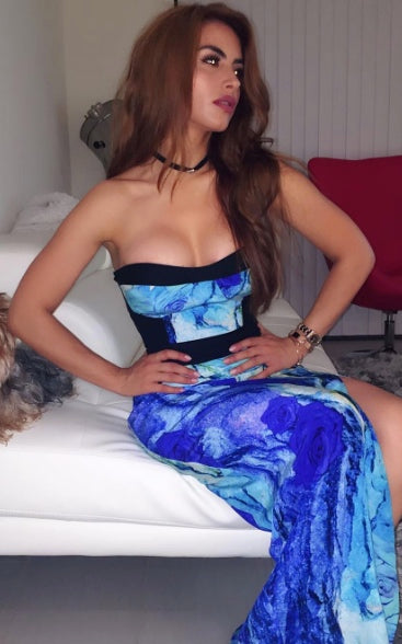 TV Personality and Colombian Actress, Jessica Cediel wears Egosoleil print dress