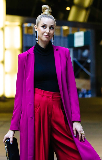 Hollywood Actress from The Hills TV Show, Whitney Port wears Egosoleil Magenta Coat - Limited