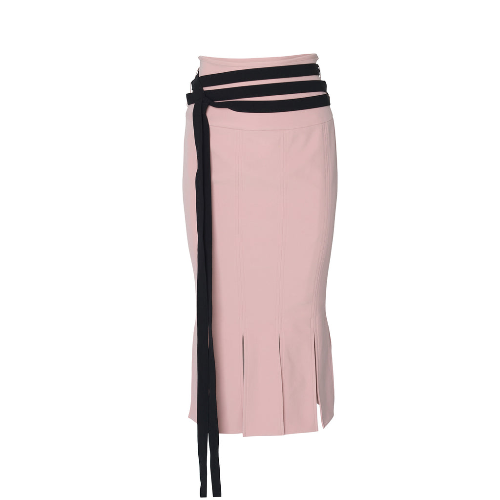 Mermaid Pleated Pink Skirt with Belt