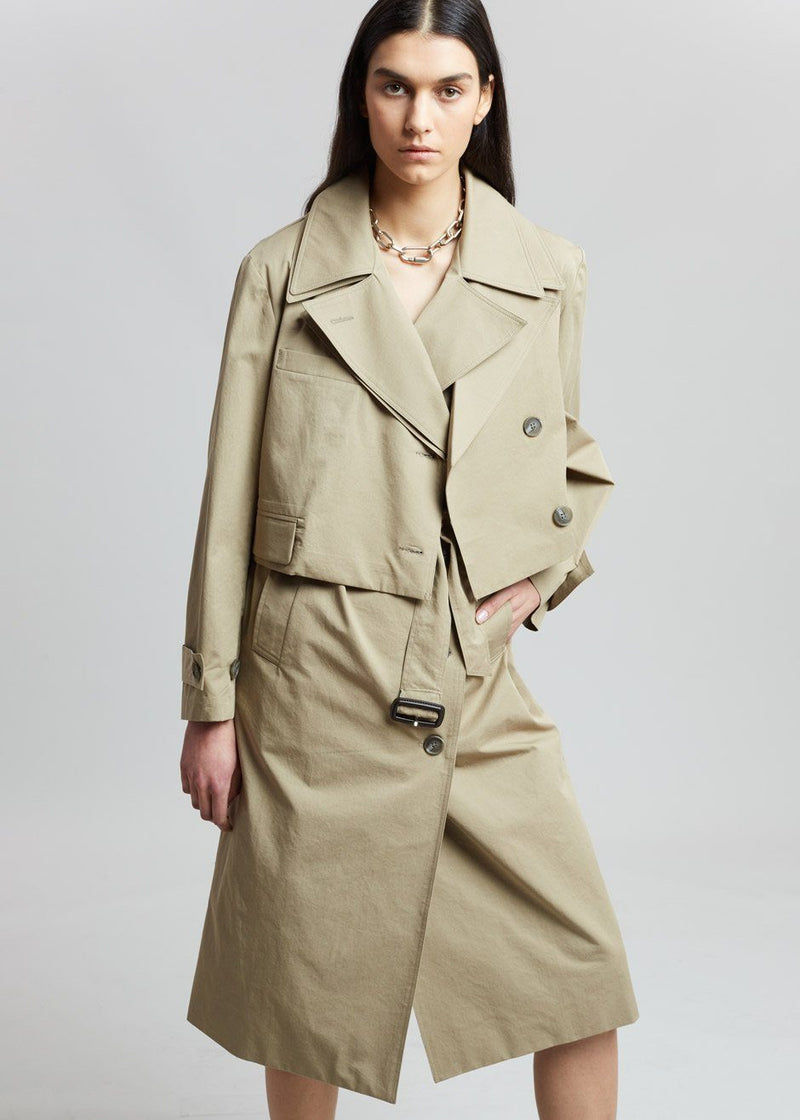 2 Layer Combo Vest and Trench Jacket in Hemp Coat breathe