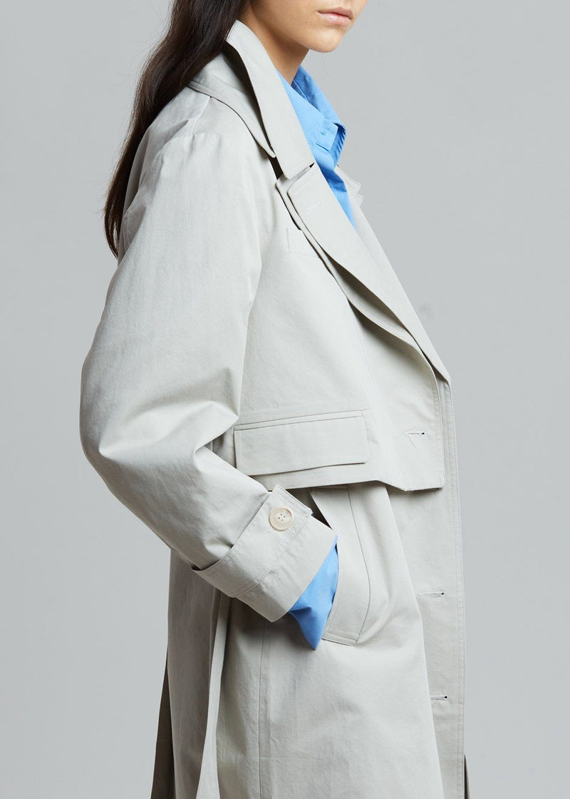 2 Layer Combo Vest and Trench Jacket in Stone Coat breathe
