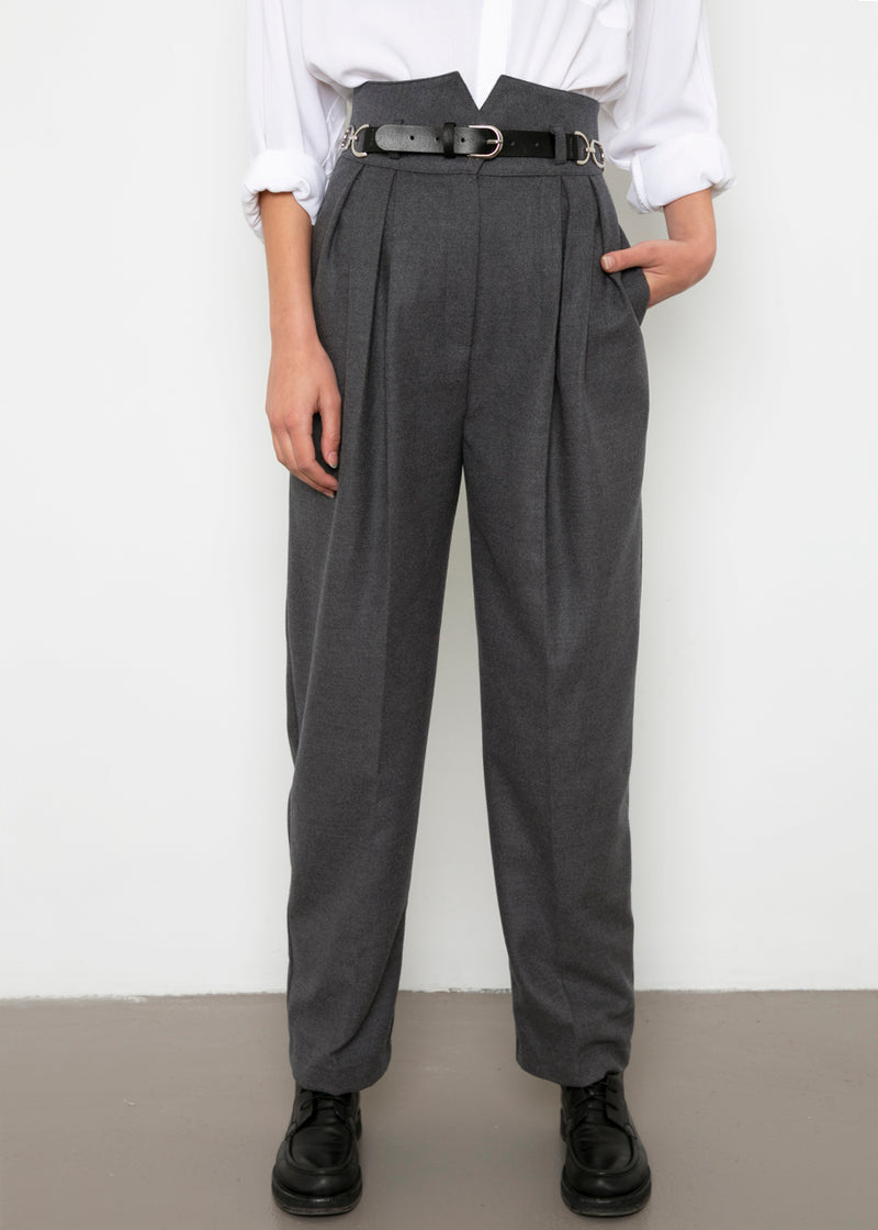 High Rise Belted Trousers in Charcoal