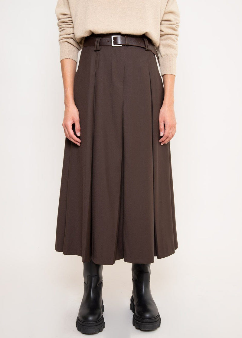 A-Line Pleated Midi Skirt in Dark Chocolate Skirt The Frankie Shop