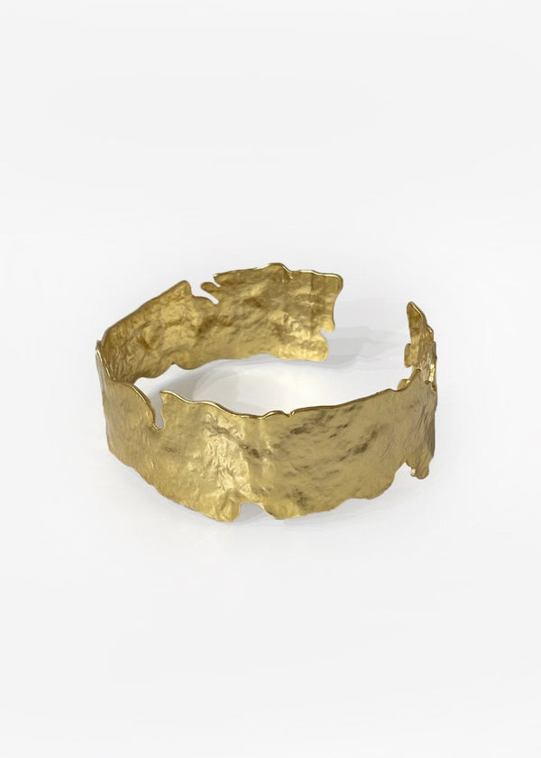 Abstract Hammered Cuff in Gold Bracelet Cafe Noir