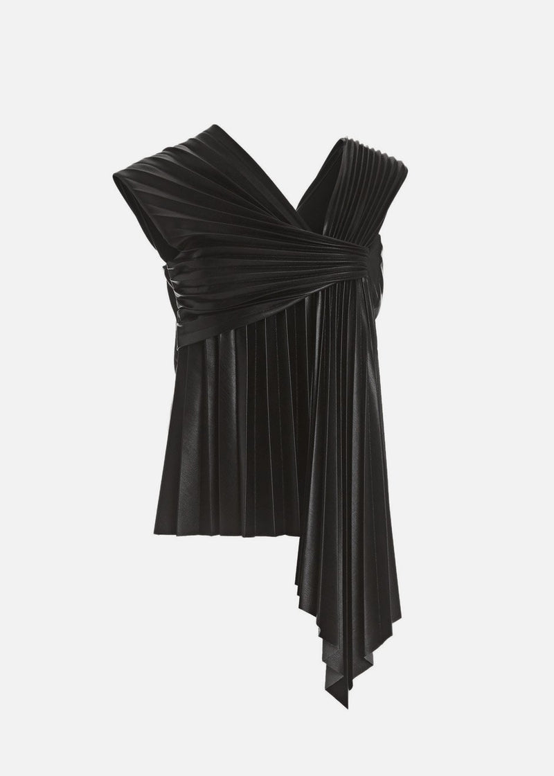 Adrie Pleated Vegan Leather Top by Nanushka in Black Top Nanushka