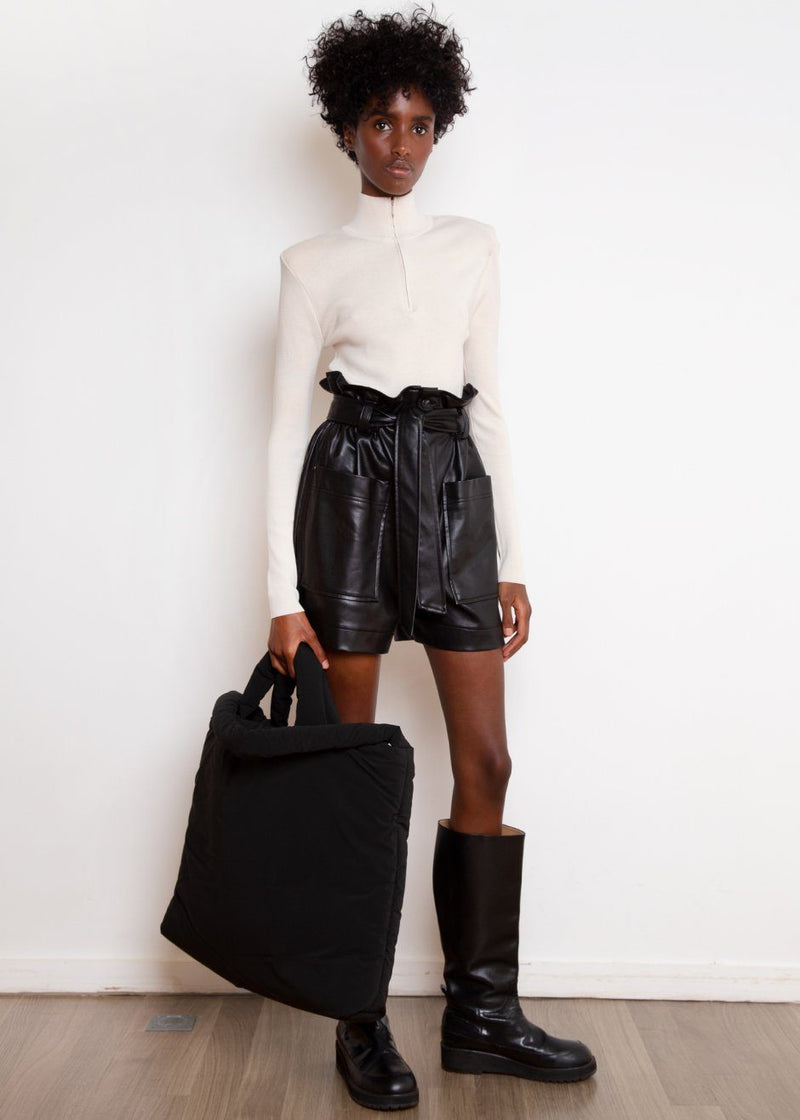 Alex Leather Paperbag Shorts in Black Shorts The Frankie Shop