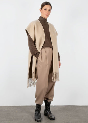 Almond Wool Blend Fringe Poncho Jacket Earl Grey People