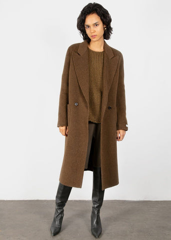 Alpaca Blend Coat in Loden Brown Coat Earl Grey People