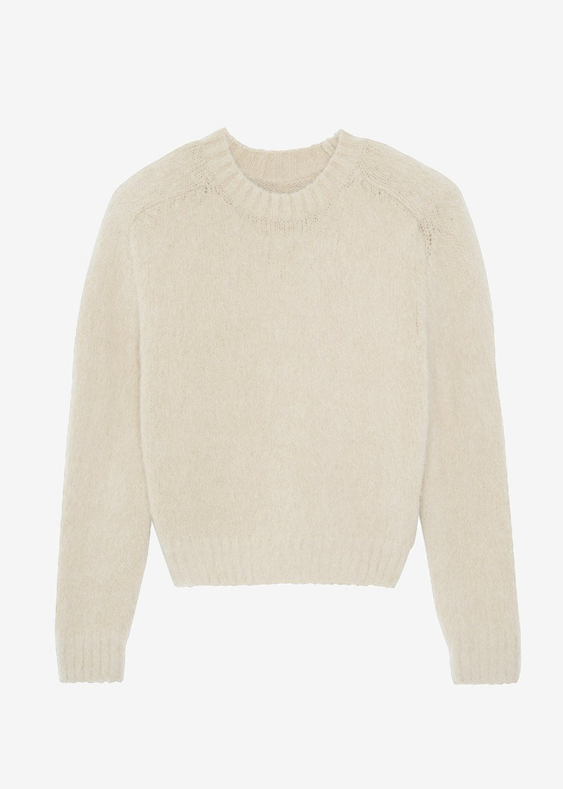 Alpaca Blend Padded Shoulder Crewneck Sweater in Meringue Sweater 140 Avenue