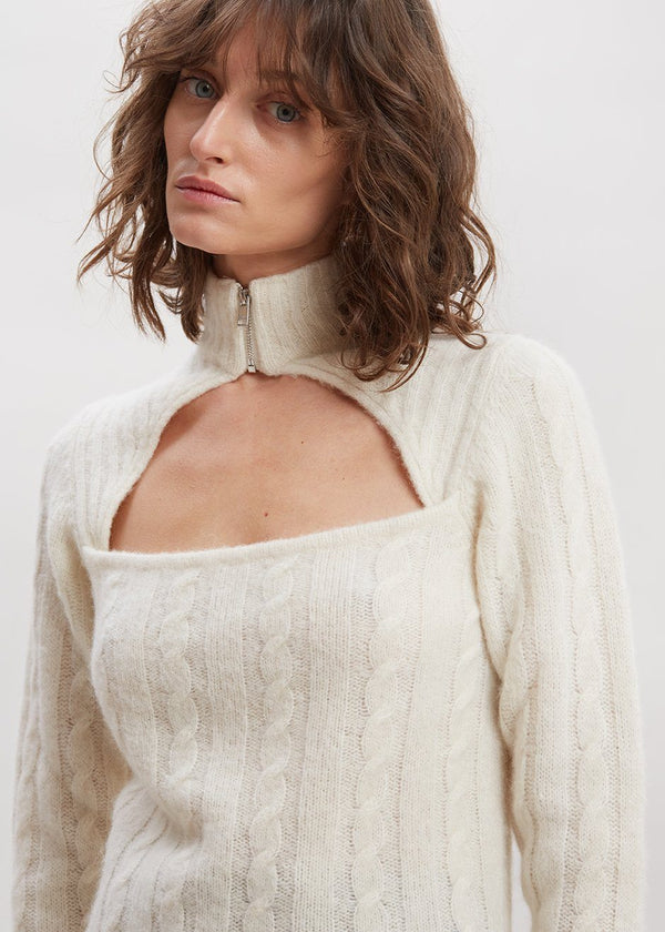 Alpaca Cable Knit Cut-Out Sweater by GANNI in Egret Sweater Ganni