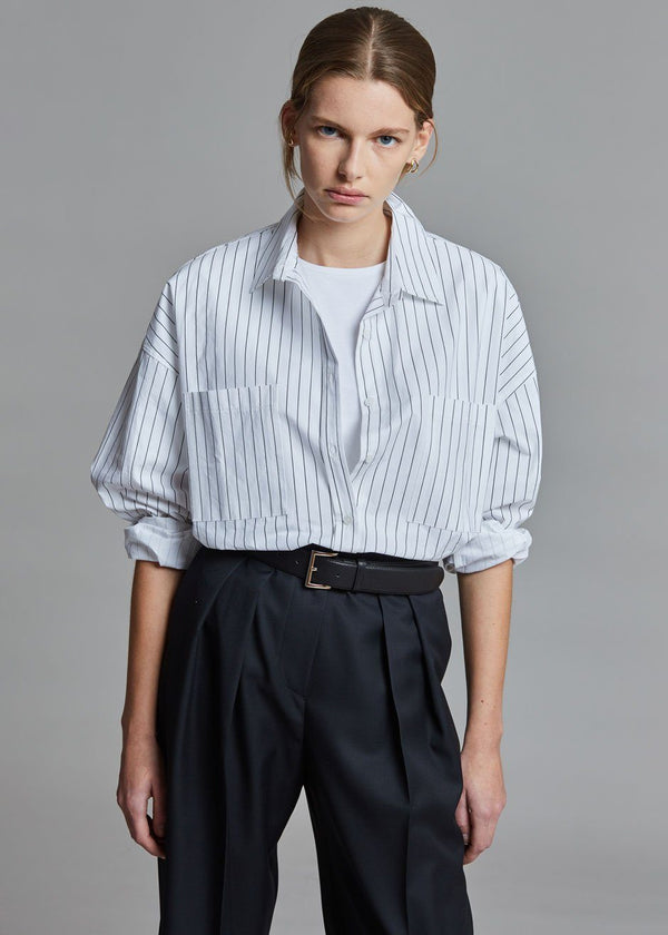 Amaris Striped Button Down Shirt - White/Onyx Shirt The Frankie Shop