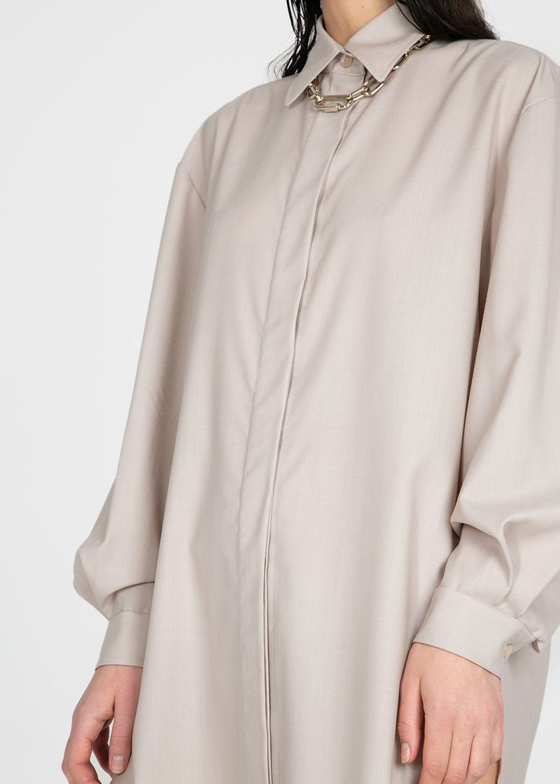 Amomento Wool Shirt Dress- Grey Shirt Amomento
