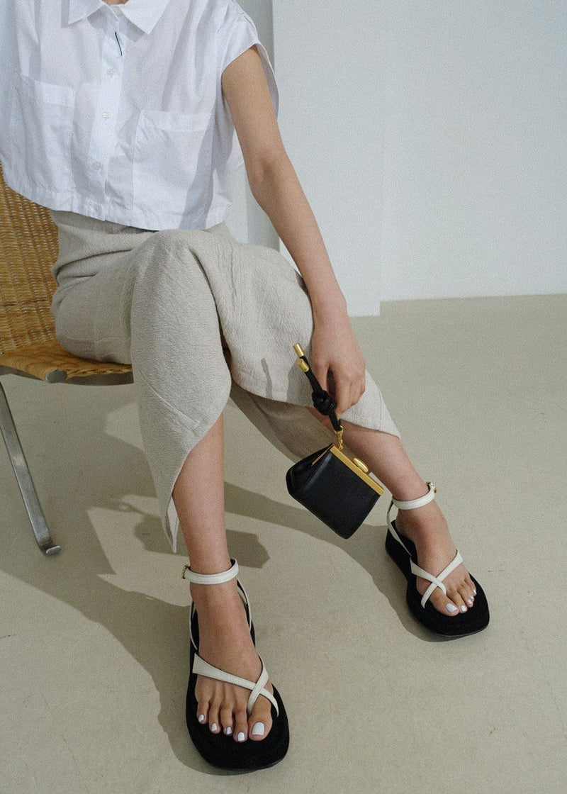 Ankle Strap Platform Sandals by Reike Nen in Off White Shoes Reike Nen