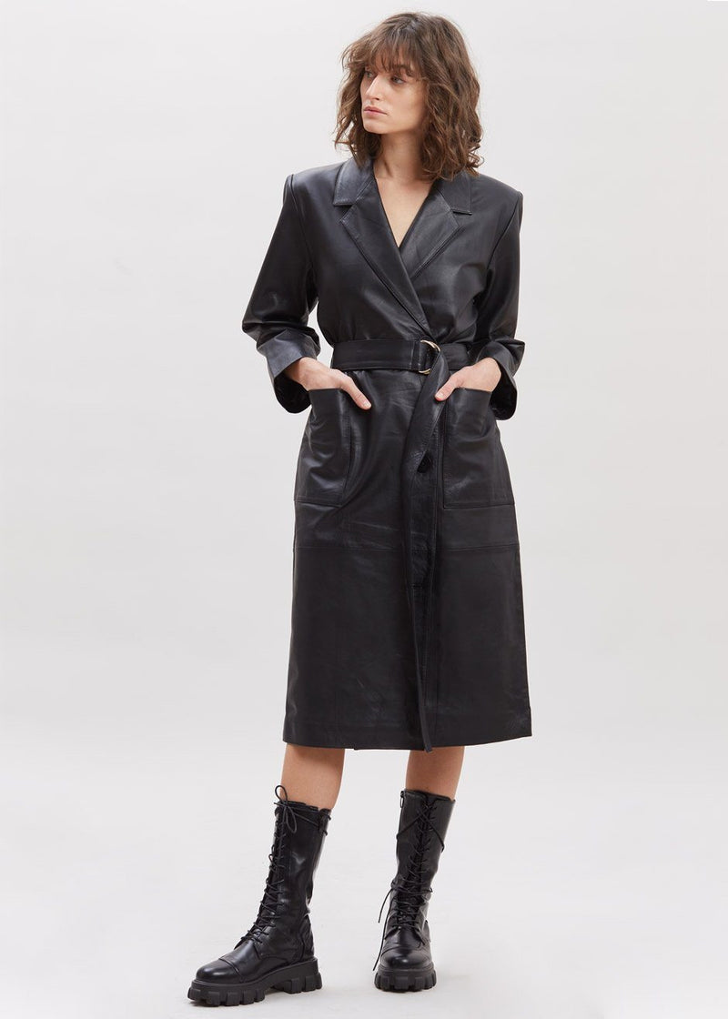 Anna Leather Blazer Dress by Remain Birger Christensen in Black Dress Remain