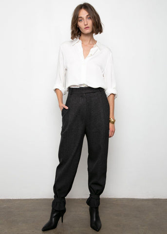 Anthracite Trousers with Button Tab Cuff Pants Blossom