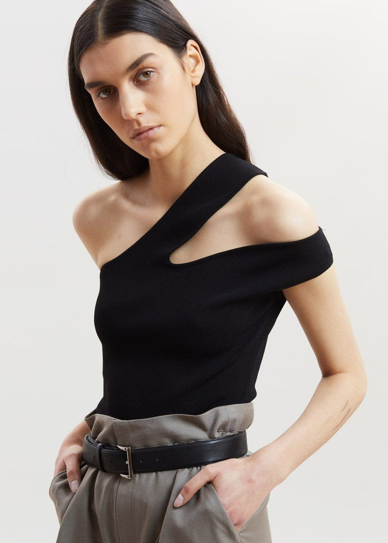 Arlet Knit Cut-Out Top by Nanushka in Black Top Nanushka