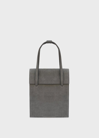 Ash Grey Leather Structured Bag Bag dearni