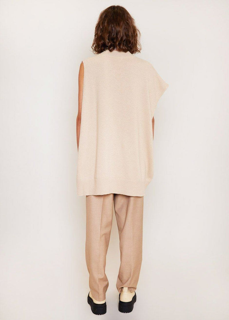Asymmetric Knit Tunic Top in Macadamia Top Another.J
