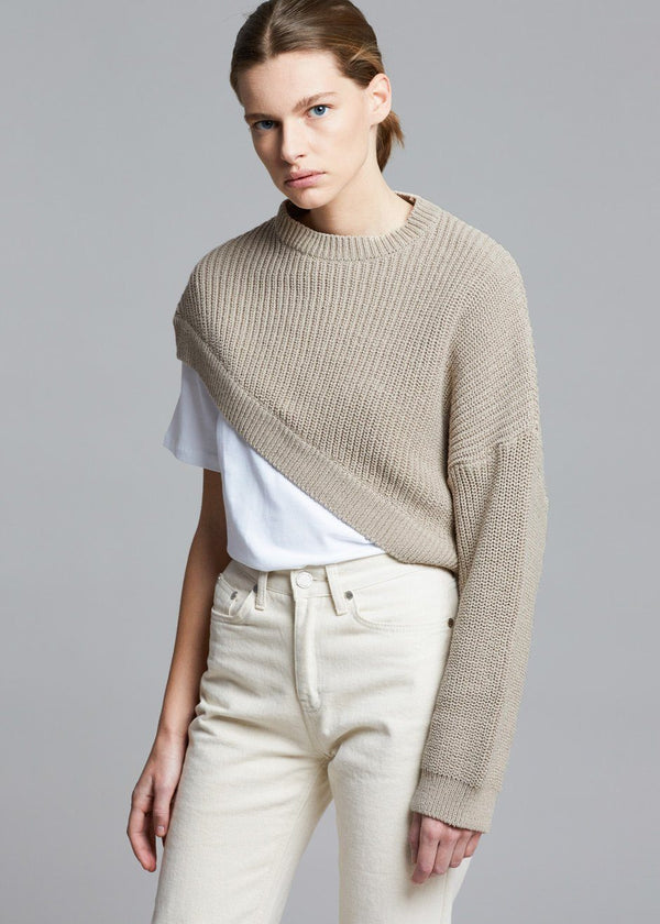 Asymmetric One Sleeve Pullover in Feather Grey Sweater money packing