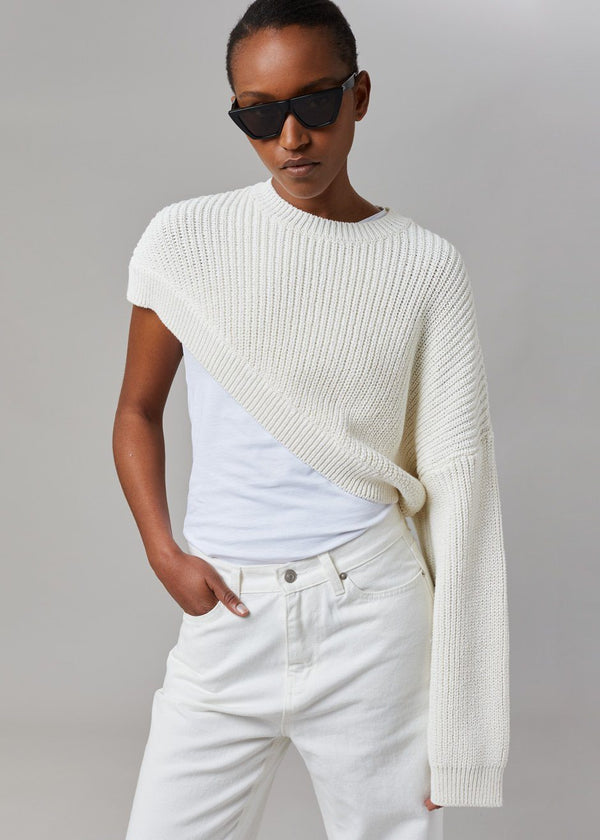 Asymmetric One Sleeve Pullover in Ivory Sweater money packing