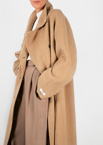 Asymmetrical Button Wool Blend Coat in Solid Camel Coat Jelome