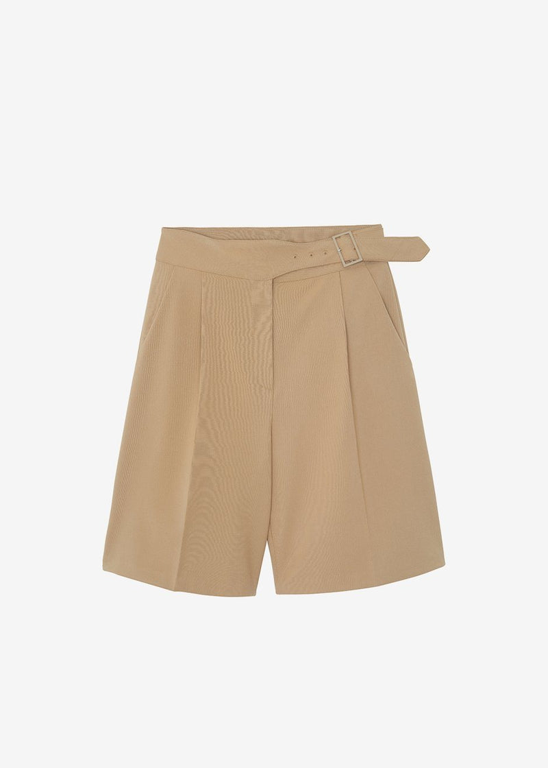 Aya Belted Suit Shorts - True Tan Shorts Mellor