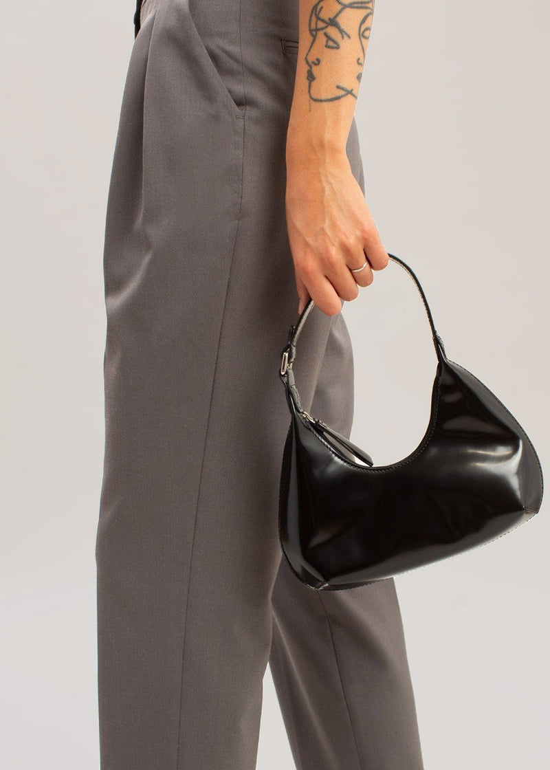 Baby Amber Semi Patent Leather Bag by BY FAR in Black Bags By Far