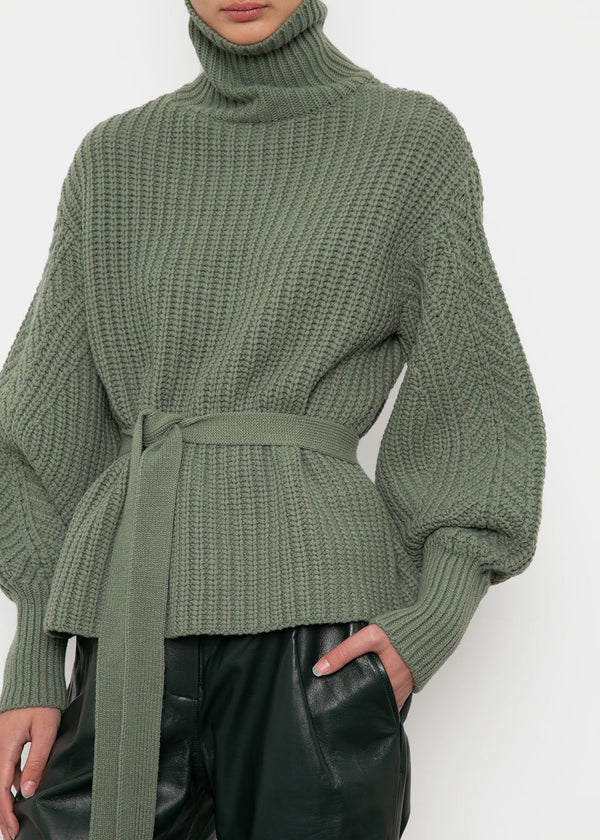 Balloon Sleeve Belted Sweater in Sage Sweater Icon