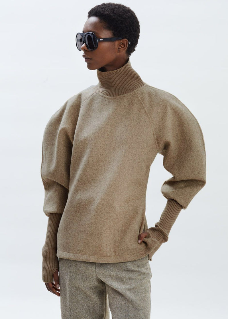 Balloon Sleeve Felt Turtleneck Pullover in Taupe Top Black Fuchsia