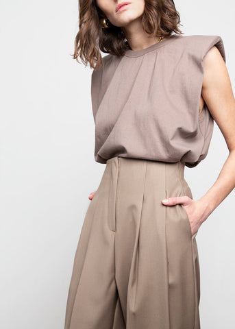Bandless Pleated Trousers- Dark Taupe Pants Beside You