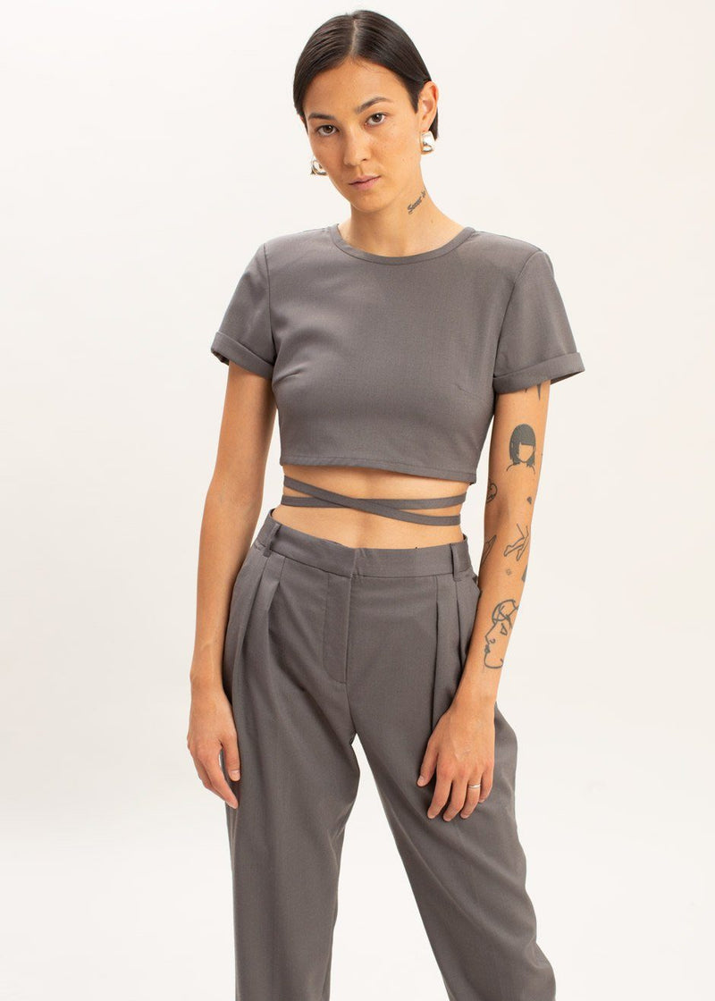 Banker Crop Top by The Garment in Concrete Top The Garment