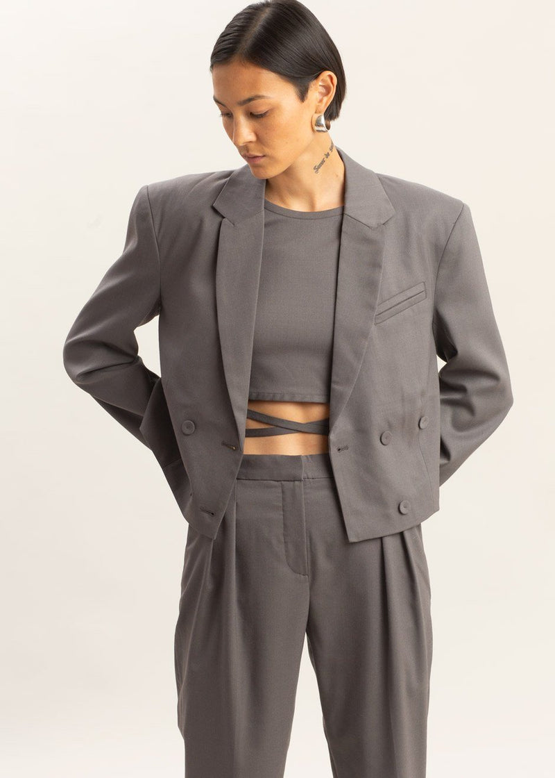 Banker Cropped Blazer by The Garment in Concrete Blazer The Garment