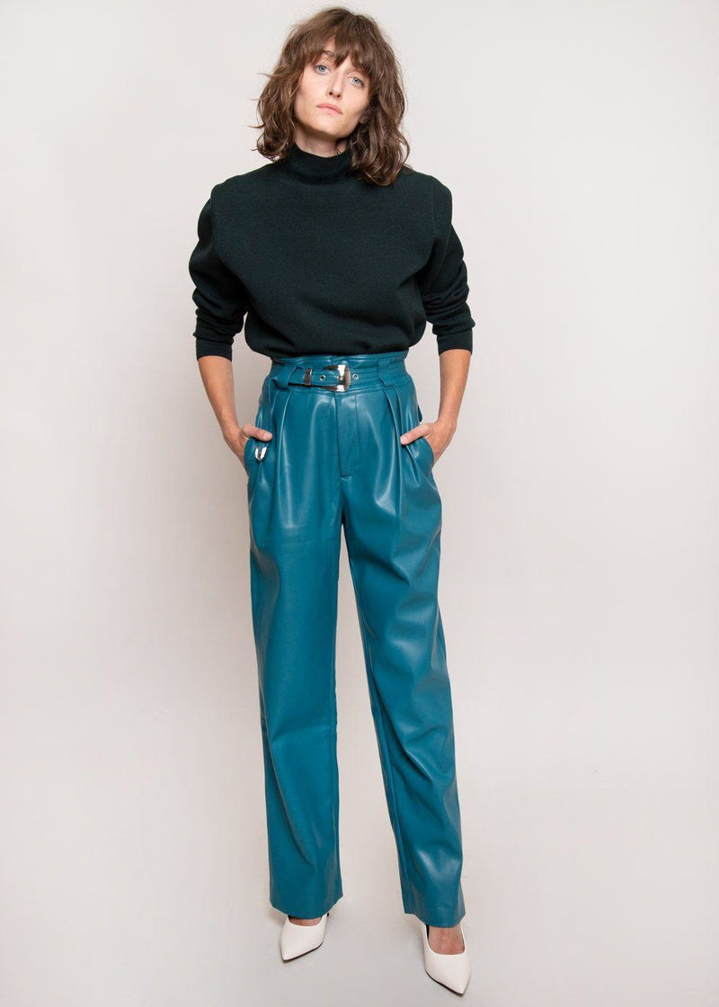 Barr Sack Waist Trouser by Simon Miller in Octane Teal Pants Simon Miller