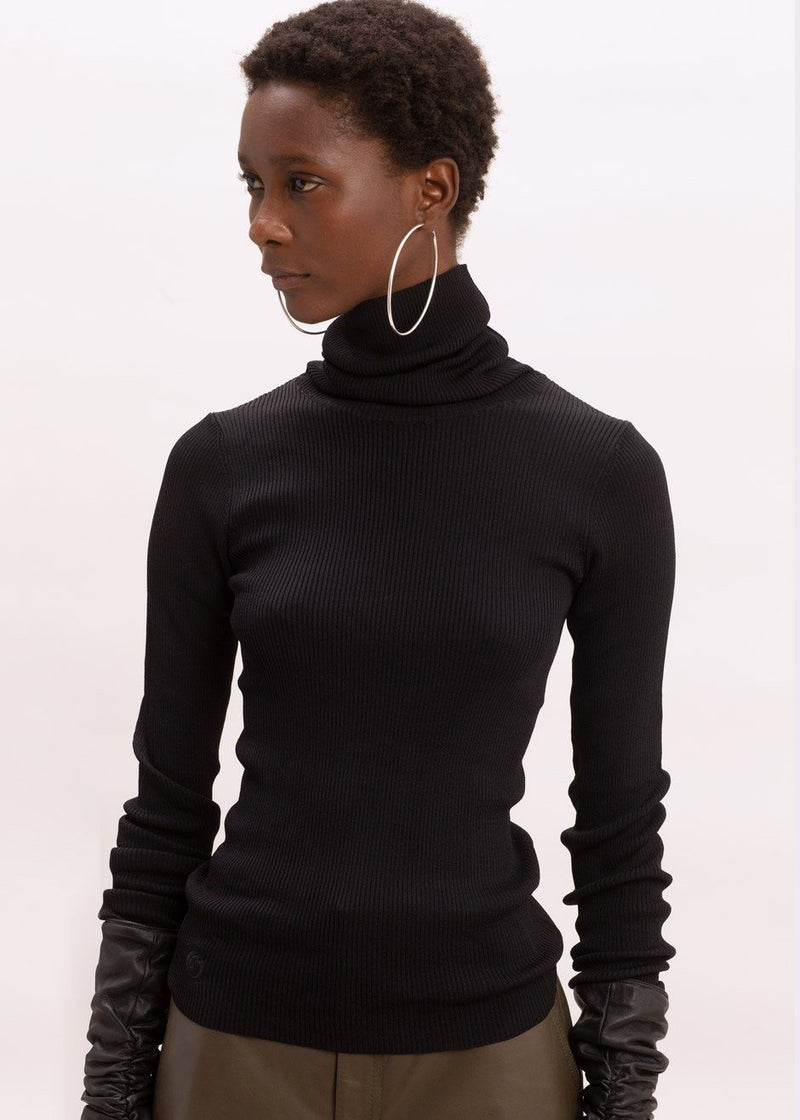 Basel Roll Neck Knit Top by Remain Birger Christensen in Black Top Remain