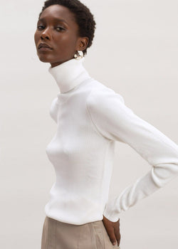 Basel Roll Neck Knit Top by Remain Birger Christensen in Egret Top Remain