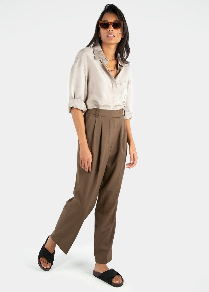Bea Pleated Suit Pants in Chocolate Pants Blossom