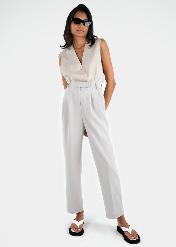 Bea Pleated Suit Pants in Grey Pants Blossom