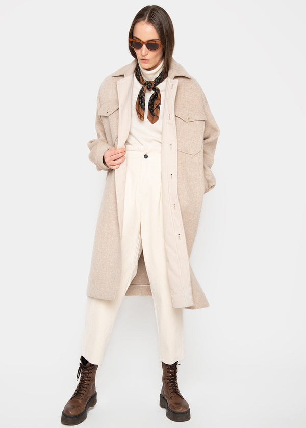 Beige Brushed Wool Blend Dress-Jacket Jacket L'art