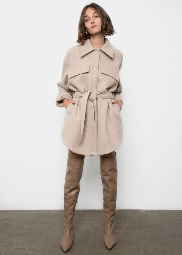 Beige Cargo Dress-Jacket Jacket Repeller