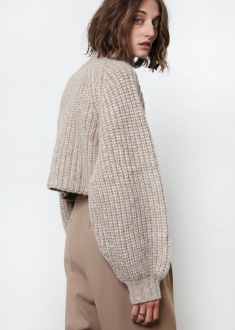 Beige Melange Crop Sweater by Shaina Mote Sweater Shaina Mote