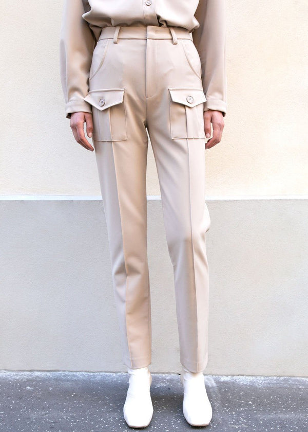 Beige Slim Trousers with Patch Pockets Pants ready 2 wear