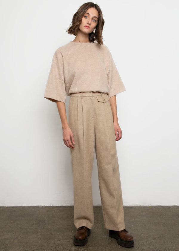 Beige Textured Wool-Blend Trousers Pants No Promise