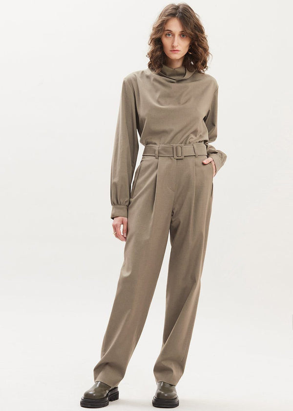 Belted High Rise Pleat Front Trousers in Vetiver Pants Mainstay