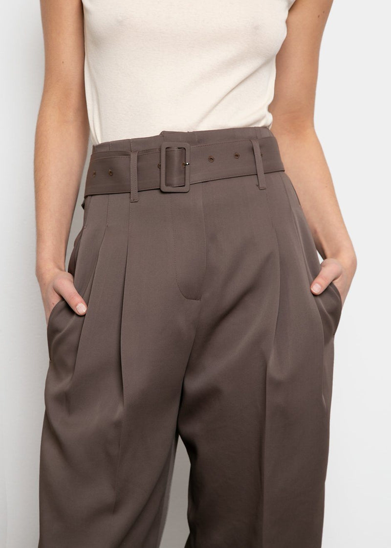 Belted High Rise Trousers- Olive Brown Pants Blossom