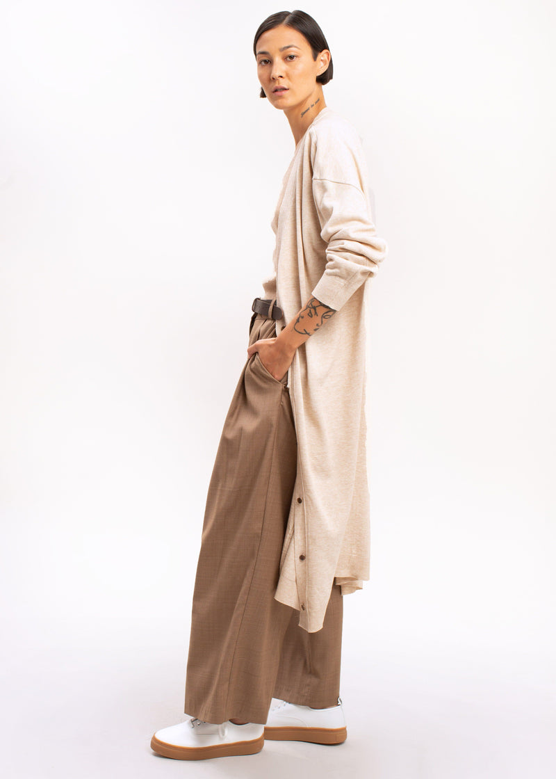 Belted Long Cardigan in Oatmeal Sweater The Frankie Shop