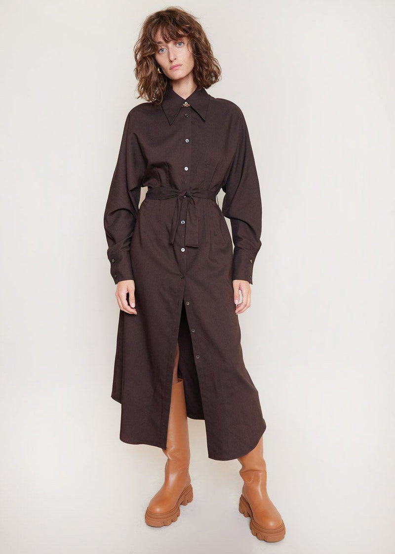Belted Midi Shirt Dress in Dark Chocolate Dress Mujel