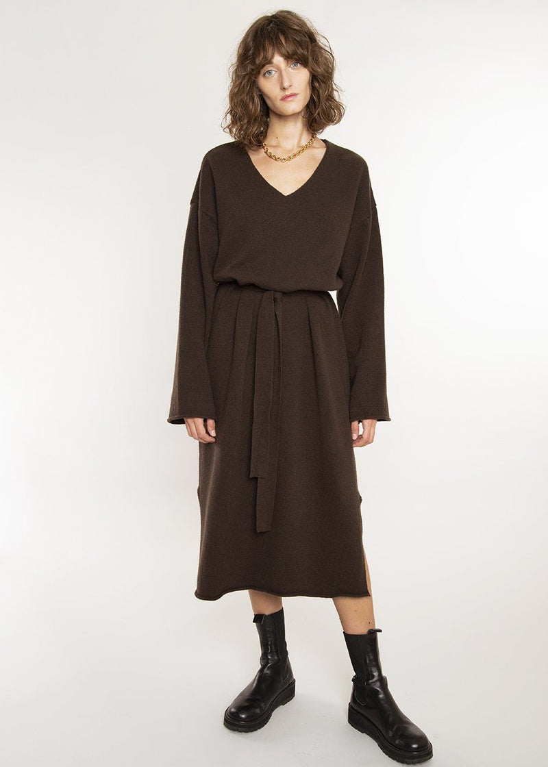 Belted Midi Sweater Dress in Dark Chocolate Dress The Frankie Shop